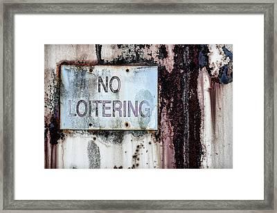 No Loitering Sign On Trash Bin Framed Print by Carol Leigh