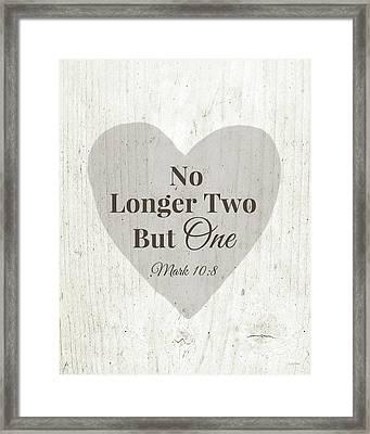 No Longer Two- Art By Linda Woods Framed Print by Linda Woods