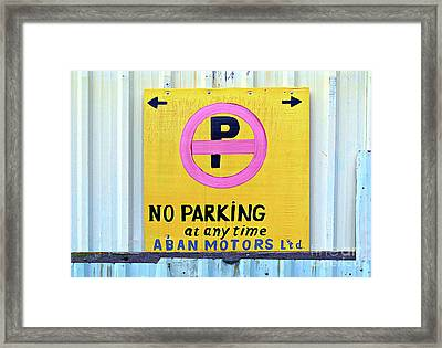 No Parking Framed Print by Ethna Gillespie