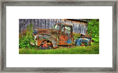 No Tires And Retired 1954 Gmc Stepside Pickup Truck Framed Print by Reid Callaway