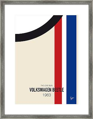 No014 My Herbie Minimal Movie Car Poster Framed Print by Chungkong Art