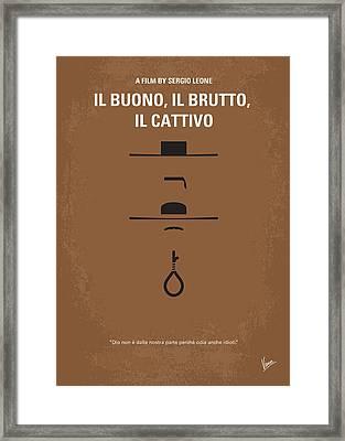 No042 My Il Buono Il Brutto Il Cattivo Minimal Movie Poster Framed Print by Chungkong Art