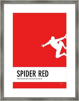 No24 My Minimal Color Code Poster Spiderman Framed Print by Chungkong Art
