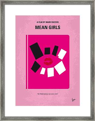 No458 My Mean Girls Minimal Movie Poster Framed Print by Chungkong Art
