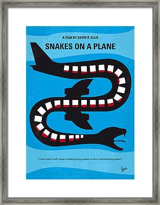 No501 My Snakes On A Plane Minimal Movie Poster Framed Print by Chungkong Art