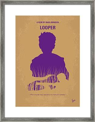 No636 My Looper Minimal Movie Poster Framed Print by Chungkong Art