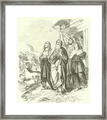 Noah And His Family Leaving The Ark, Genesis, Viii, 16 Framed Print by English School
