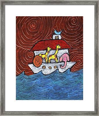 Noahs Ark With Blue Bird Framed Print by Wayne Potrafka