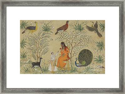 Noble Woman In A Garden Framed Print by Mughal School