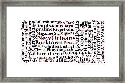 Nola Typography  Framed Print by NolaOriginals