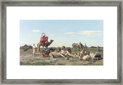 Nomads In The Desert Framed Print by Georges Washington