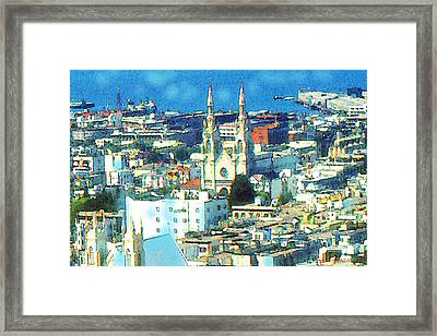 North Beach San Francisco - Watercolor Drawing Framed Print by Art America Online Gallery