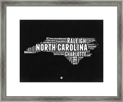 North Carolina Black And White Word Cloud Map Framed Print by Naxart Studio