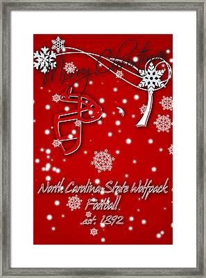 North Carolina State Wolfpack Christmas Card Framed Print by Joe Hamilton
