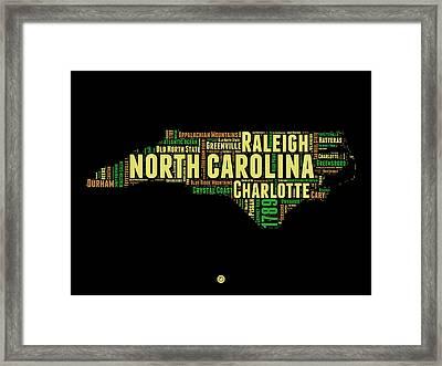 North Carolina Word Cloud Map 1 Framed Print by Naxart Studio