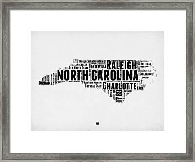 North Carolina Word Cloud Map 2 Framed Print by Naxart Studio