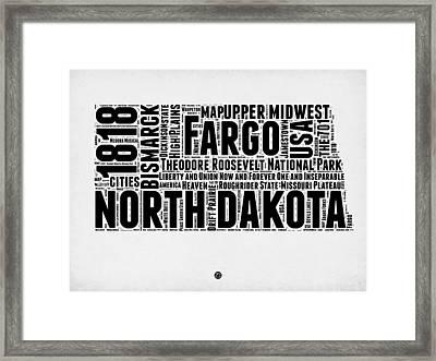 North Dakota Word Cloud 2 Framed Print by Naxart Studio