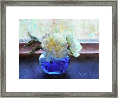 North Light Peonies Framed Print by Anna Rose Bain
