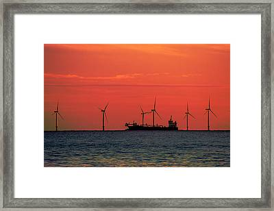North Sea Wind Farm Framed Print by Martin Newman