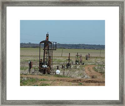 North Texas Shallow Oil Field Framed Print by Richard Dalton