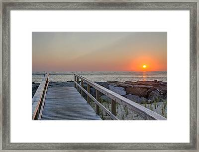 North Wildwood Seawall At Sunrise Framed Print by Bill Cannon