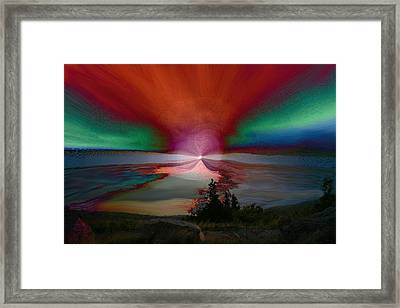 Northern Lights Framed Print by Linda Sannuti