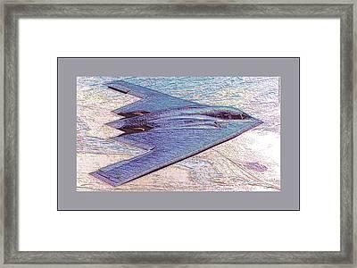 Northrop Grumman B-2 Spirit Stealth Bomber Enhanced With Double Border II Framed Print by L Brown