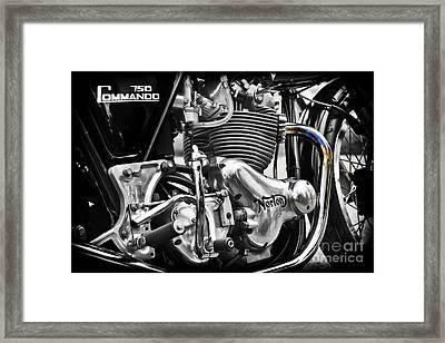 Norton Commando 750cc Cafe Racer Engine Framed Print by Tim Gainey