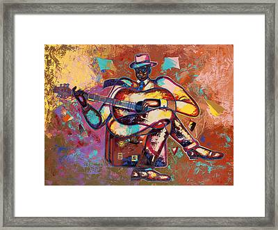 Nothin' But Da Blues Framed Print by Larry Poncho Brown