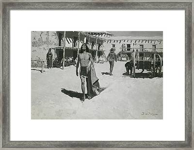 Nothing But Cheerful Looks Followed The Bat Framed Print by Frederic Remington