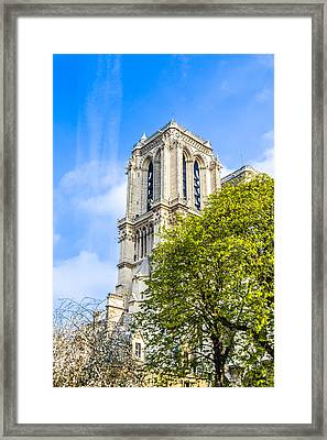 Notre Dame Bell Tower Framed Print by Nila Newsom