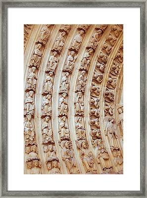 Notre Dame Cathedral Carvings Framed Print by Nila Newsom