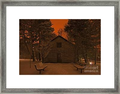 Notre Dame Log Chapel Winter Night Framed Print by John Stephens