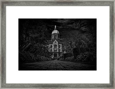 Notre Dame University Golden Dome Bw Framed Print by David Haskett
