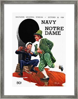 Notre Dame V Navy 1954 Vintage Program Framed Print by Big 88 Artworks
