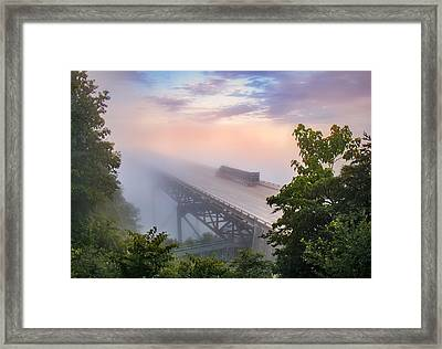 Nrb184 New River Bridge In The Fog Framed Print by Mary Almond