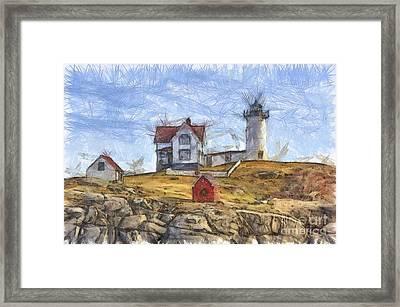 Nubble Light Cape Neddick Lighthouse Sohier Park York Maine Pencil Framed Print by Edward Fielding