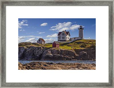 Nubble Light Framed Print by Capt Gerry Hare