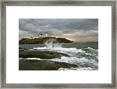 Nubble Light In A Storm Framed Print by Rick Frost