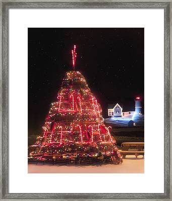 Nubble Lighthouse And The Lobster Trap Tree - York Maine Framed Print by Joann Vitali