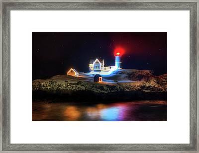 Nubble Lighthouse At Night - Cape Neddick Maine Framed Print by Joann Vitali