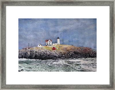 Nubble Lighthouse Framed Print by Sharon Farber