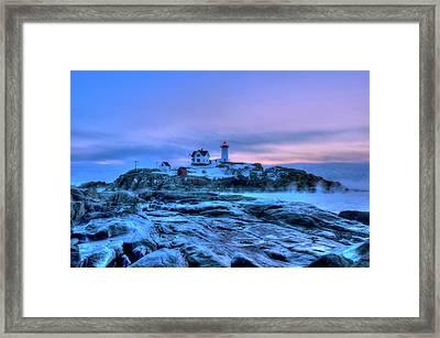 Nubble Lighthouse Sunrise - York, Maine Framed Print by Joann Vitali