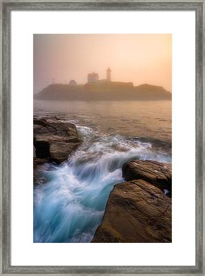 Nubble Morning Fog Framed Print by Darren White