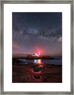 Nubble Night - Vertical Framed Print by Michael Blanchette
