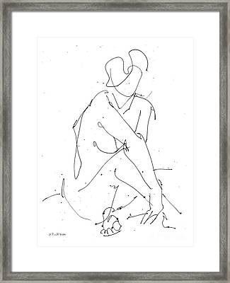 Nude-female-drawing-19 Framed Print by Gordon Punt