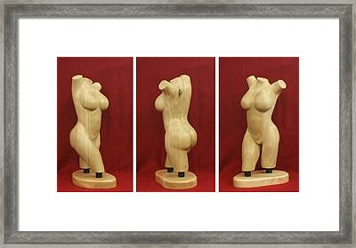 Nude Female Wood Torso Sculpture Roberta    Framed Print by Mike Burton