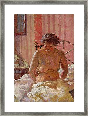 Nude In An Interior Framed Print by Harold Gilman