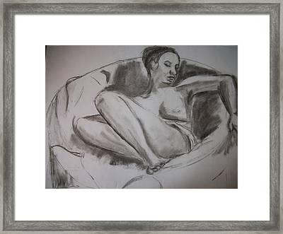 Nude In Chair Framed Print by Adam Davis