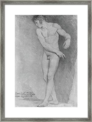 Nude Looking Down To The Left Framed Print by Edme Bouchardon
